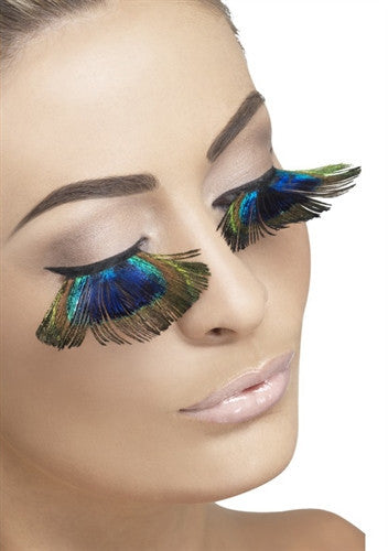 Crossdresser wearing stunning peacock inspired feather lashes