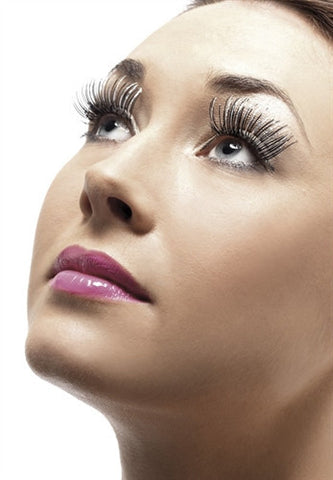 image of Silver Holographic Eyelashes for bold crossdressers