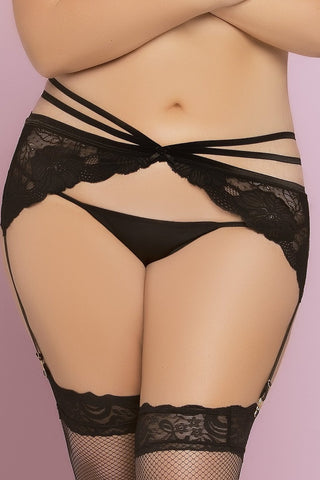 Two Strap Floral Lace Garter Belt - Black - 1x/ 2x STM-10777XBLKX2X