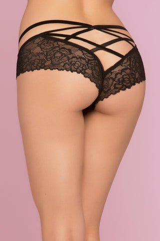 Bianca Rose Galloon Lace Panty - Black - Extra  Large STM-10785BLKXL