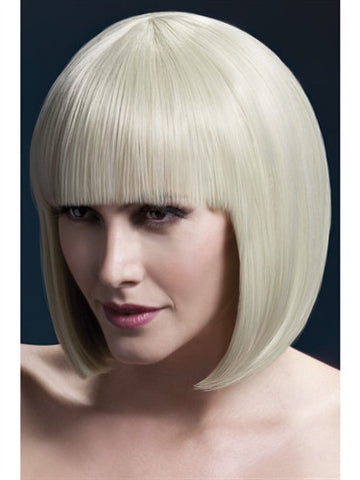 image of blonde sleek short bob wig with fringe. Designed for crossdressers.