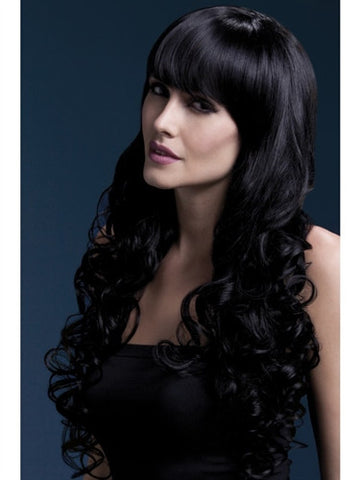 trans woman wearing a long black wig