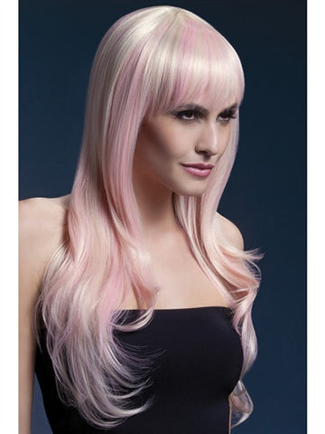 cotton candy colored long wig for crossdressers