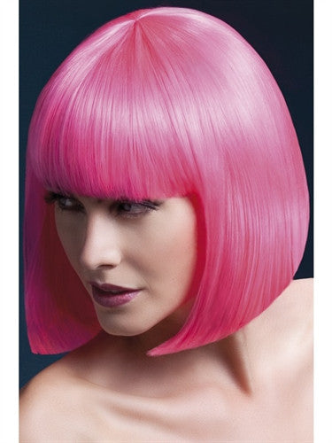 Neon pink sleek short bob wig with fringe for men