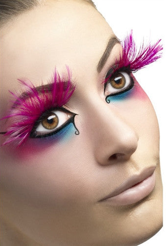 Wild long pink feather lashes