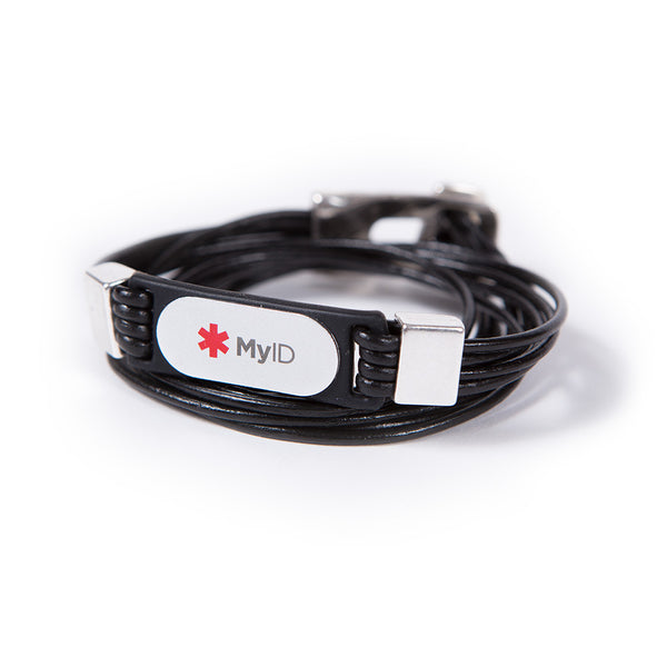Rectangle Buckle with Toggle Button Wrap Medical ID Bracelet