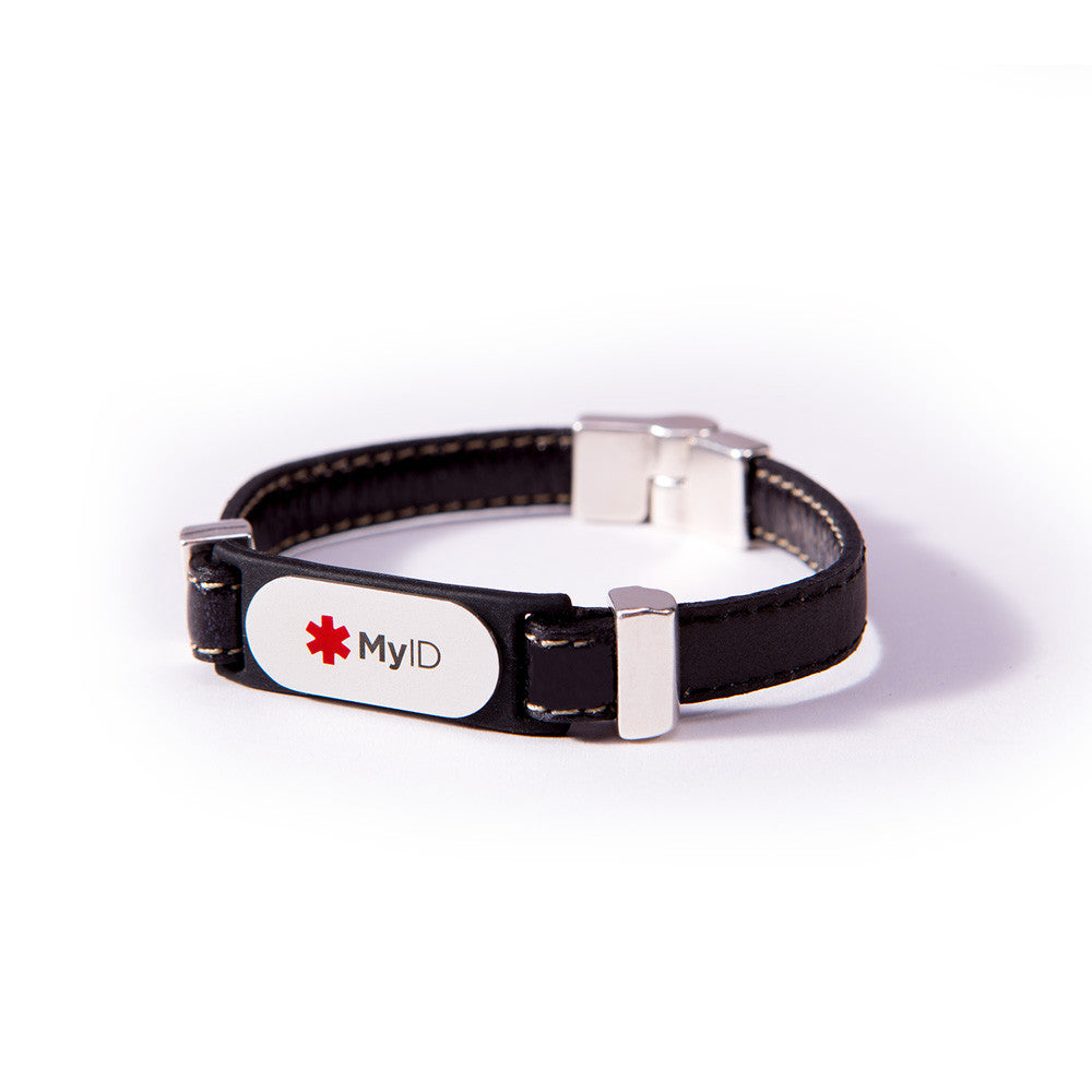 Stitched Magnetic Clasp Leather MyID Medical ID Bracelet