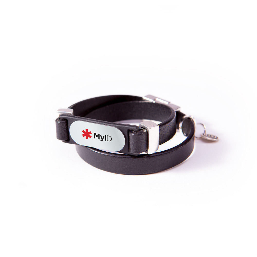 Double Wrap Magnetic Leather Medical ID Bracelet