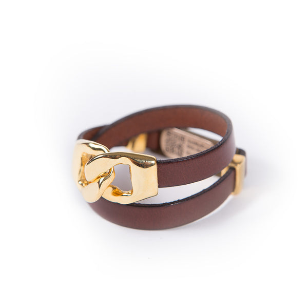 Double Wrap Gold Link Leather MyID Medical ID Bracelet