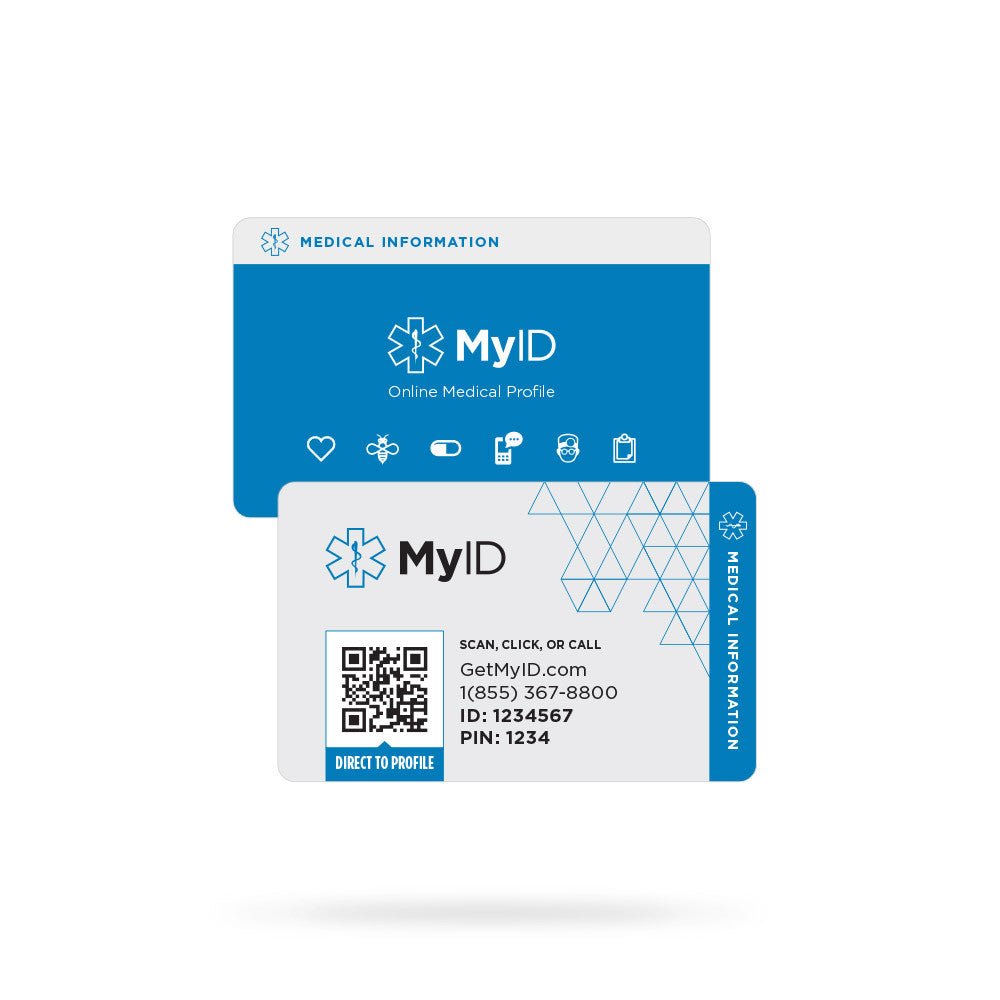 Medical Id Wallet Card Medical Card Emergency Card Myid Shop
