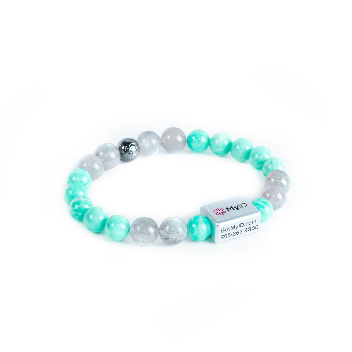 Jade Green Amazonite + Moonstone Medical ID Bracelet