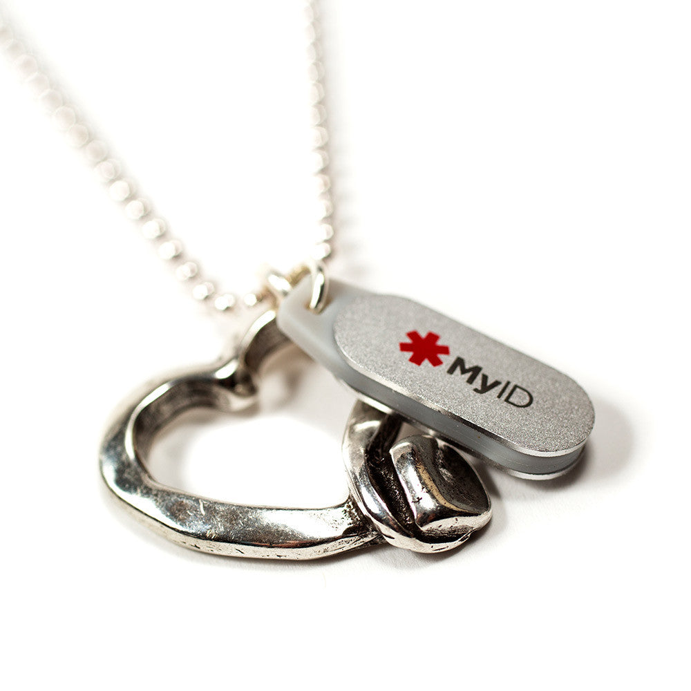 Zamak Metal Heart Medical ID Necklace