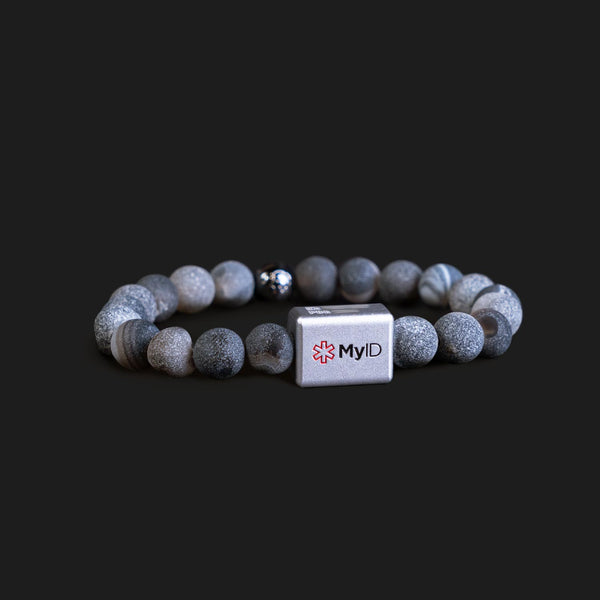 Natural Earth Geode Medical ID Bracelet