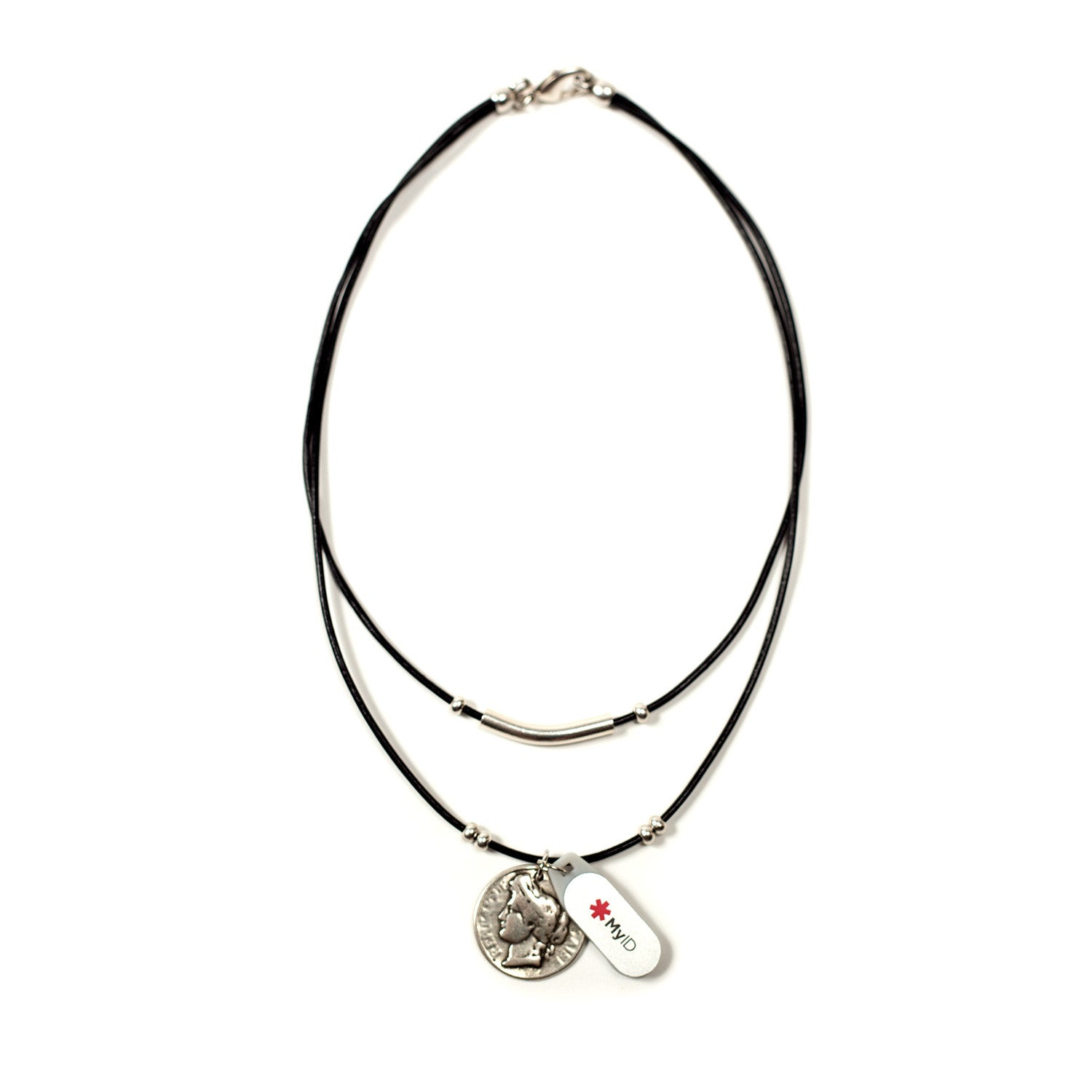 Double Strand Leather Medical ID Necklace