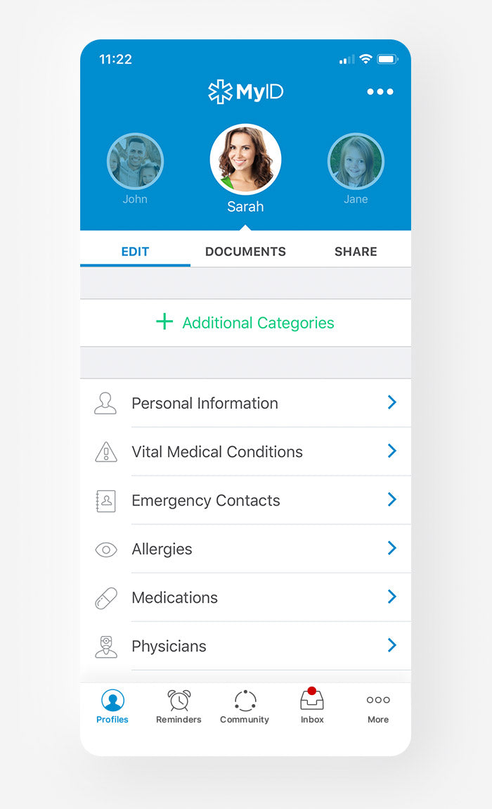 MyID Medical ID Bracelet App Profile Screen