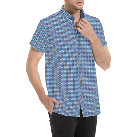 Space Invaders Alien Sunrise Short Sleeve Button Up Shirt