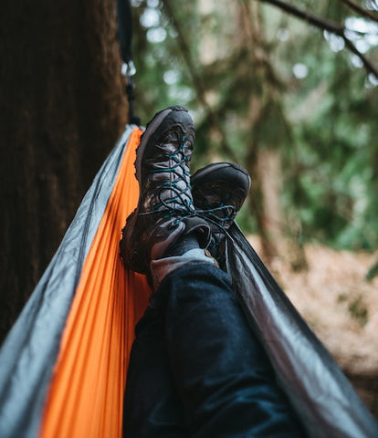 hiking shoes and hammock