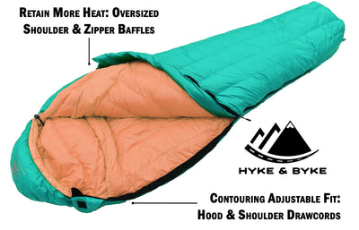 Eolus 15°F Ultralight 800FP Goose Down Sleeping Bag Sleeping Bag Hyke & Byke