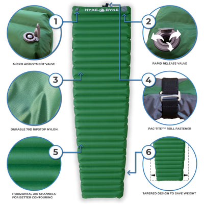 Ultralight Appalachian Inflatable Sleeping Pad With Micro-Adjustment Valve