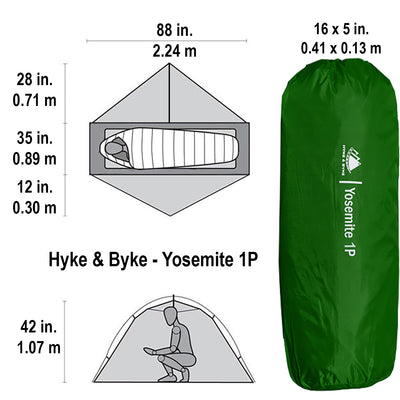 Yosemite 1 Person Backpacking Tent with Footprint