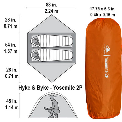 Yosemite 2 Person Backpacking Tent with Footprint