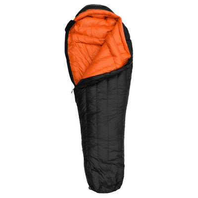 Eolus 15°F Ultralight 800FP Goose Down Sleeping Bag Sleeping Bag Hyke & Byke Regular Black/Clementine