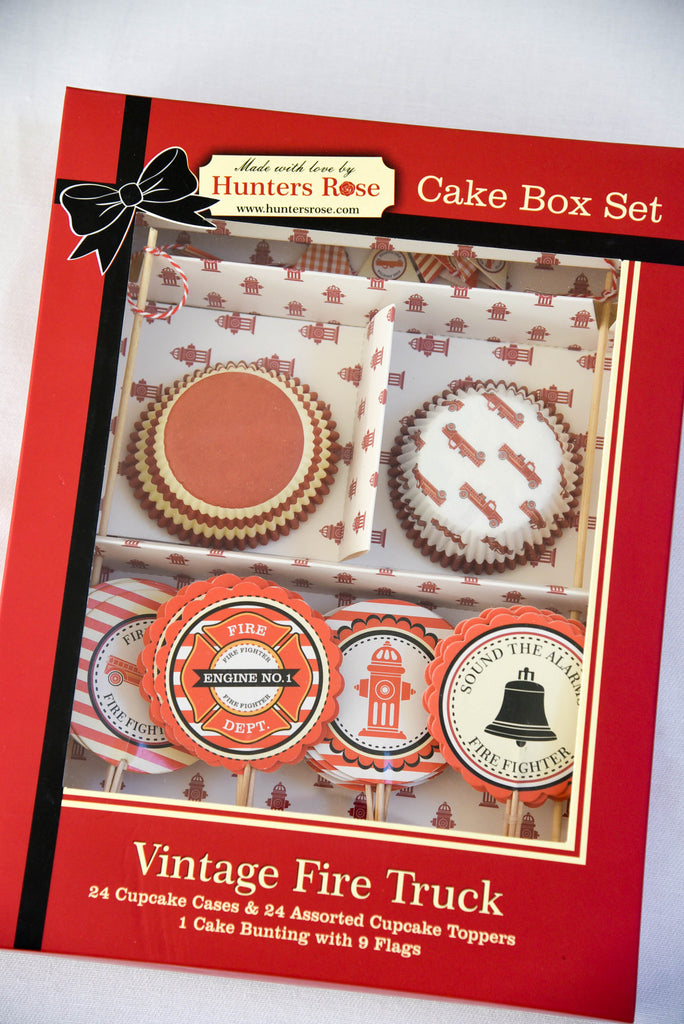 Vintage Fire Truck Cake Box Set