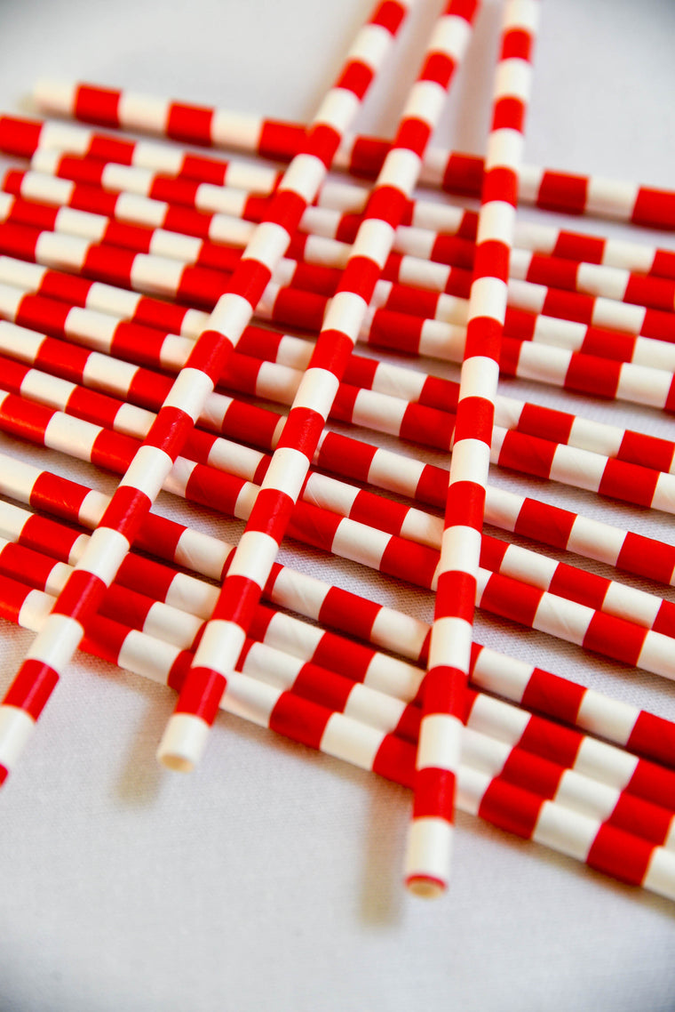 Vintage Fire Truck Paper Straws (Pack of 25)