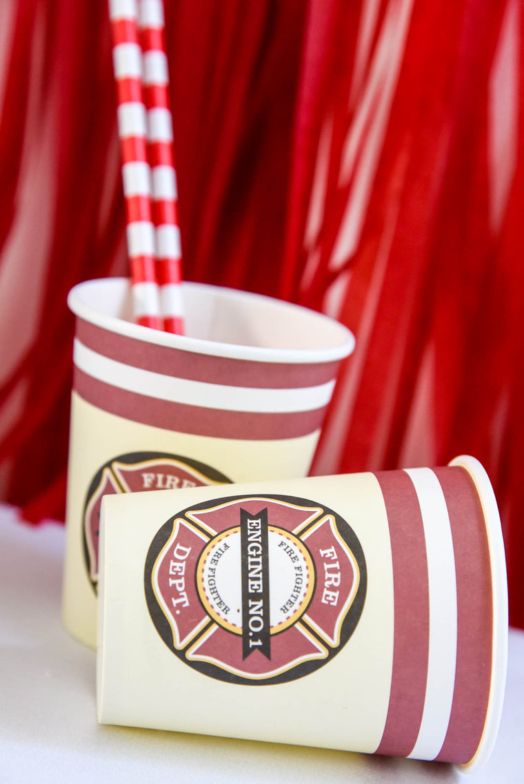 Vintage Fire Truck Paper Cups (Pack of 8)