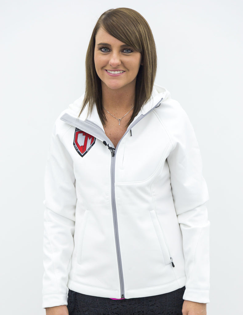 Women's White Cosmo Motors Jacket w/ Hood