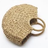Hand-knitted Natural Straw Handle Summer Bag - Zacca store