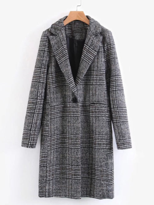 Single Button Plaid Reefer Coat - Zacca store
