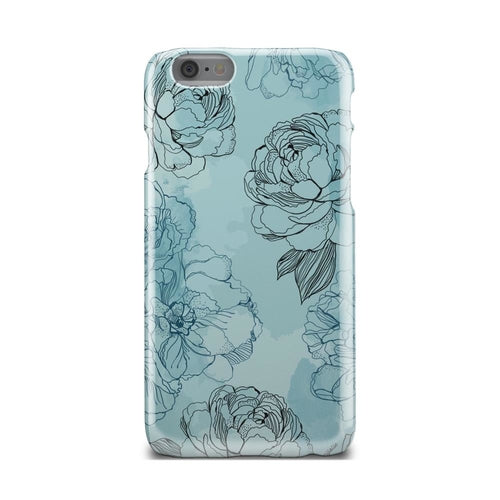 Light Blue And Black Rose Floral iPhone Case - Zacca store