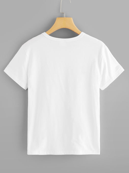 Letter Print Round Neck Tee - Zacca store