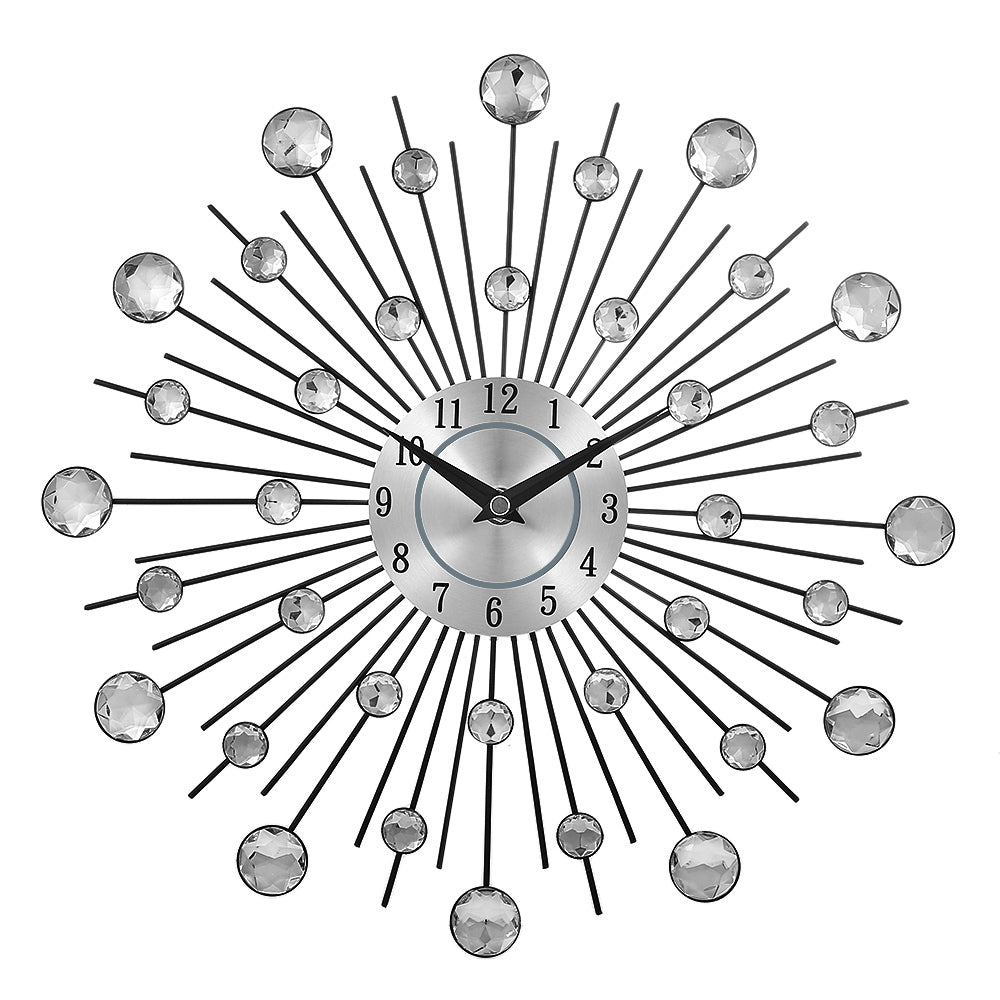 Crystal Sunburst Metal Clock Home Art Decor - Zacca store