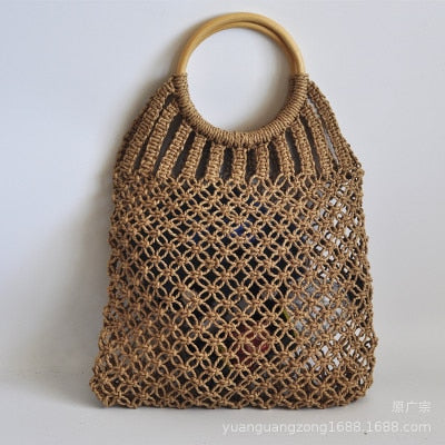 Hand-knitted Hollow Round Rattan Handle Summer Bag - Zacca store