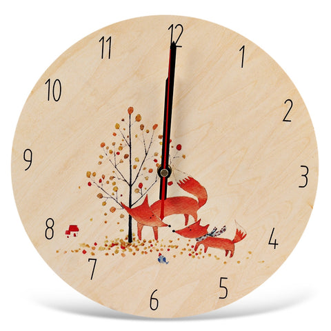 Round Silent Wall Clock Cartoon Wooden Home Art Decor - Zacca store