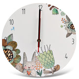 Bunny And Flowers Wall Clock Home Art Decor - Zacca store