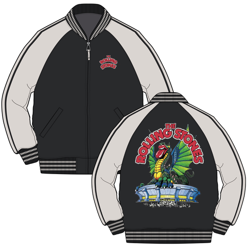 Rolling Stones Dragon Stadium - Mens Black Varsity Jacket - Zacca store