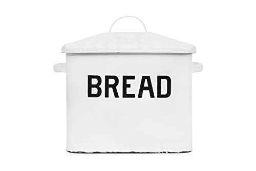 ノスタルジック ブレッド ボックス Creative Co-op Enameled Metal Distressed Bread Box with Lid, White