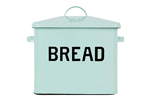 ノスタルジック ブレッド ボックス Creative Co-op Enameled Metal Distressed Bread Box with Lid, White - Zacca store