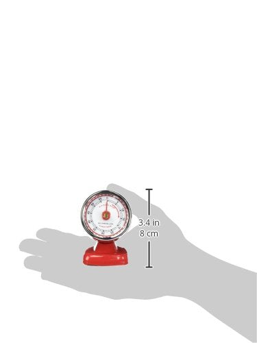 レトロキッチンタイマー Kikkerland Vintage Streamline Kitchen Timer, Red
