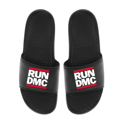 Run Dmc Logo - Mens Black Slides - Zacca store