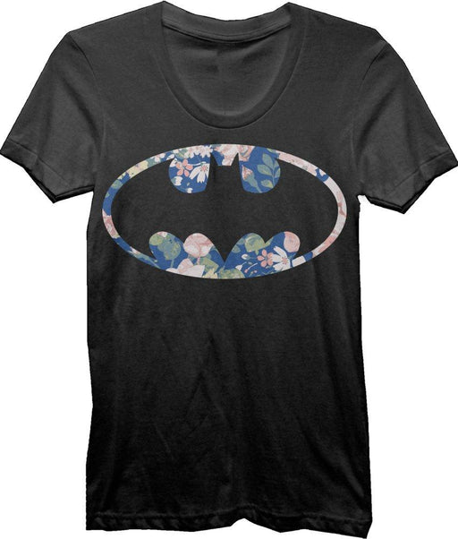 DC Comics Batman Floral Bat Logo Juniors Top T-shirt Tee Shirt - Zacca store
