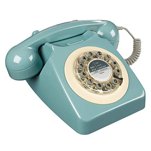 Rotary Design Retro Landline Phone for Home, French Blue - Zacca store