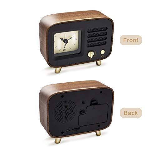 レトロアラーム時計 Ferrisland Bluetooth Speaker with Clock, Alarm Clock with Wireless Speaker 4.2 Portable Wireless Bluetooth Speaker Alarm Clock USB Port for Charging