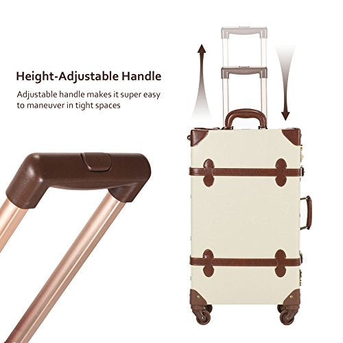 "プレミアム ヴィンテージスタイル スーツケースCO-Z Premium Vintage Luggage Sets 24"" Trolley Suitcase and 12"" Hand Bag Set with TSA Locks (Pink + Beige) (12"" +24"" White) 