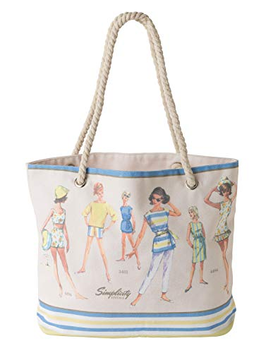 ヴィンテージ ファッショントートバッグ Simplicity Vintage Vintage 1960's Fashion Fold Up Shopping Tote Bag, 3.9'' W x 17.25'' L x 17.75'' H,