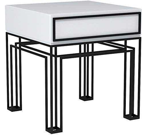 ジョナサン・アドラー  エンドテーブル Now House by Jonathan Adler Grid End Table, Black and White - Zacca store