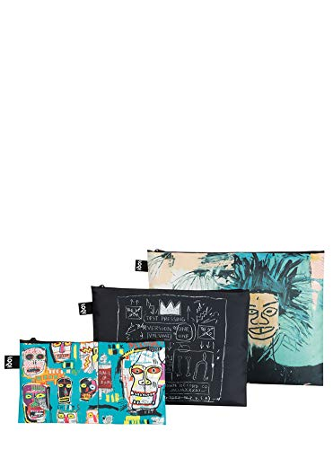 ローキー ジャン=ミシェル・バスキア ポーチ(3個セット)LOQI ZP.JB Museum Zip Pockets, ((Set of 3), Jean Michel Basquiat - Zacca store
